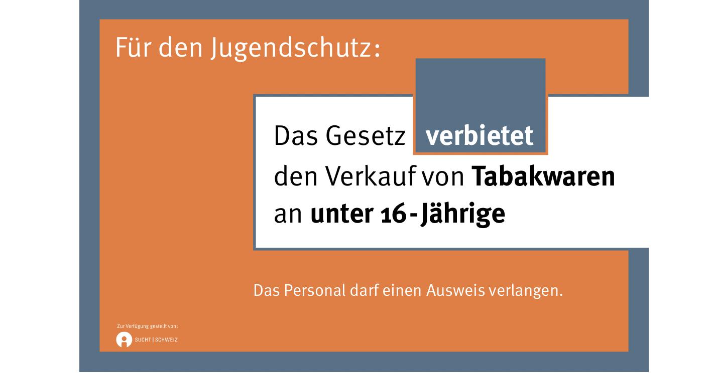 Hinweisschild Jugendschutz Tabak Gesetz 16J.