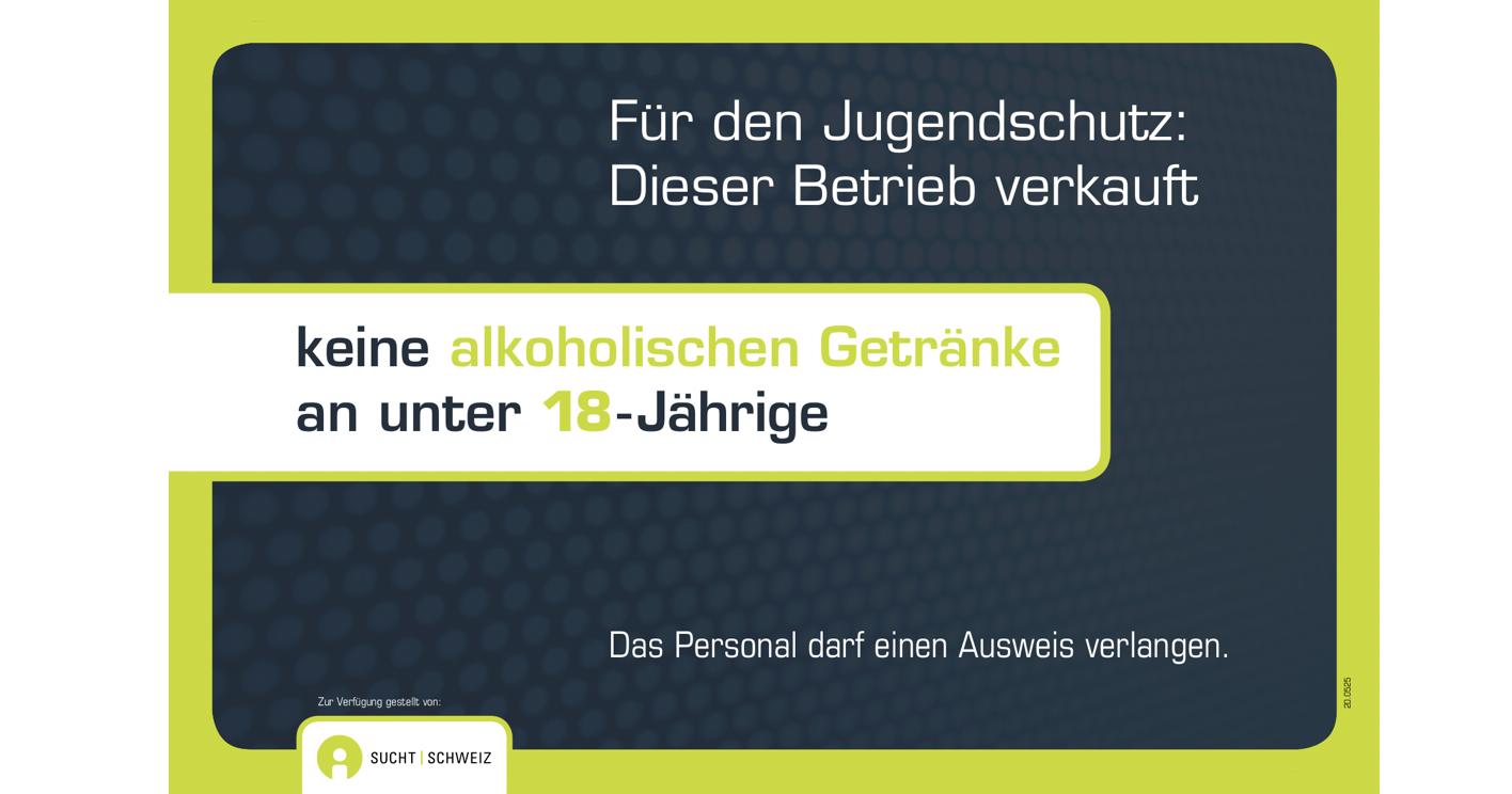 Hinweisschild Jugendschutz Alkohol freiwillig 18J.