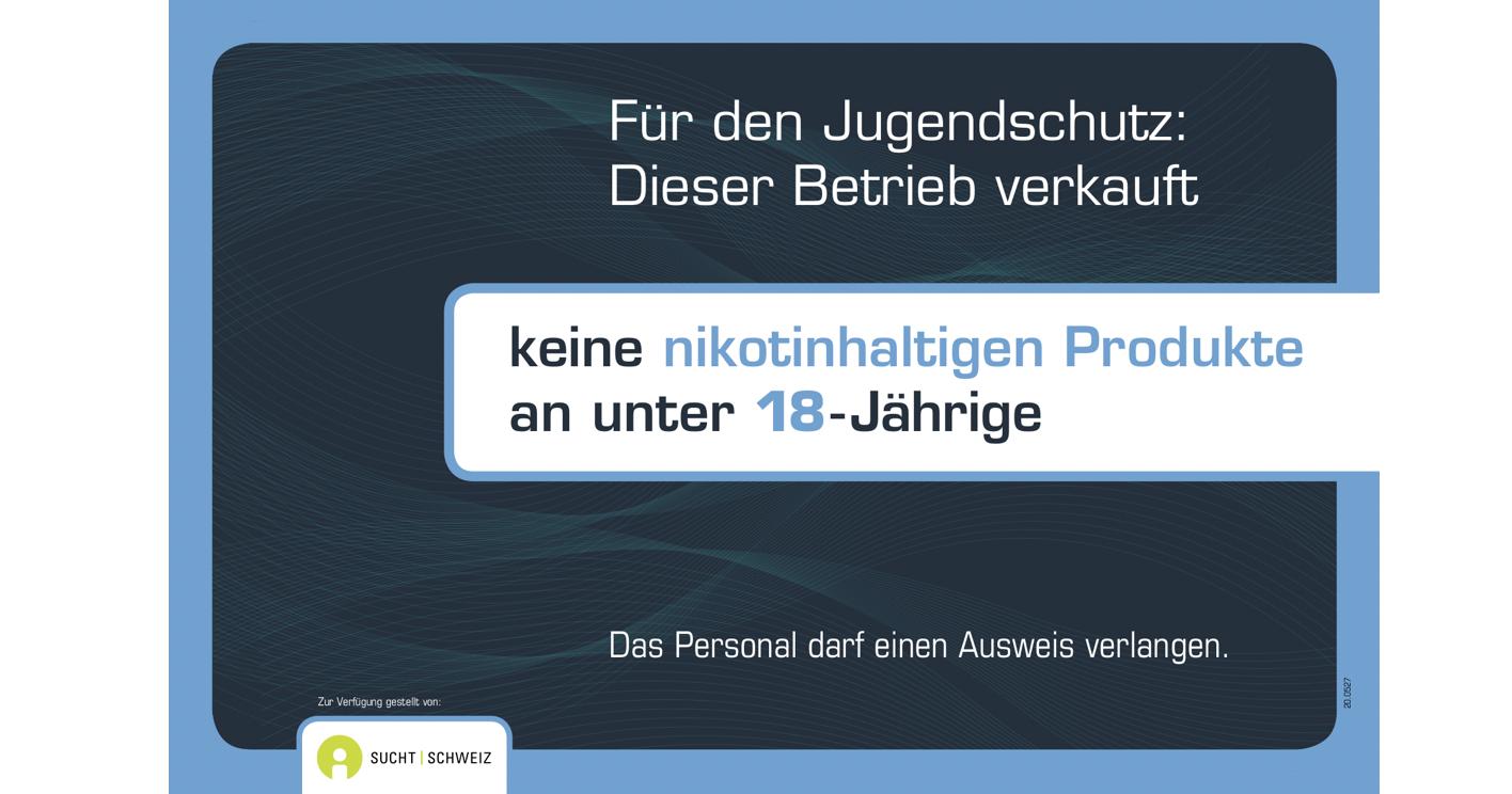 Hinweisschild Jugendschutz Tabak freiwillig 18J.